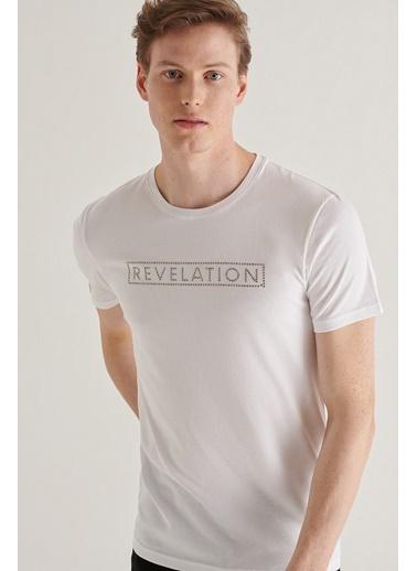 Avva A11Y1061 Bisiklet Yaka Detaylıı T-Shirt A11Y1061 Beyaz